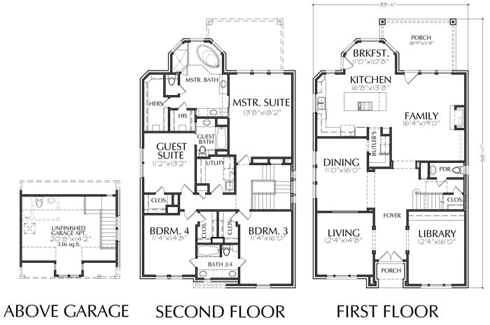 Two Story Townhouse Plan E2047