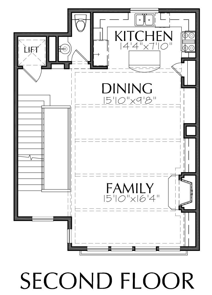 Four Story Townhouse Plan E2088 B1.1