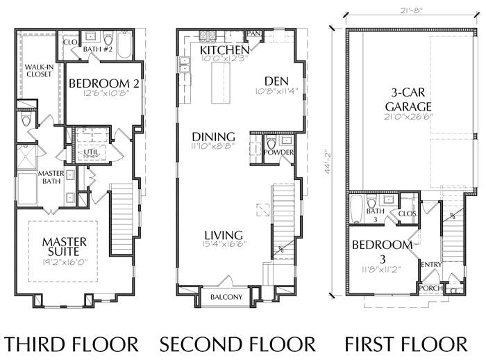 Three Story Townhouse Plan E2230 A1.1