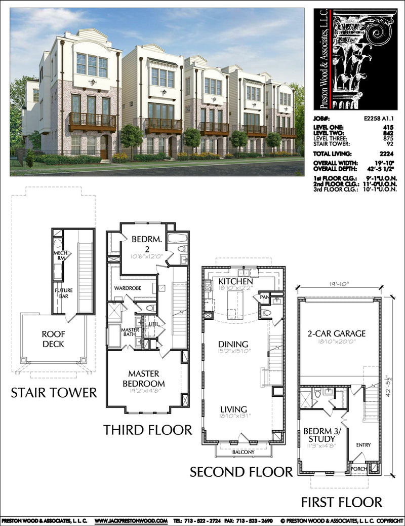 3 1/2 Story Townhouse Plan E2258 A1.1