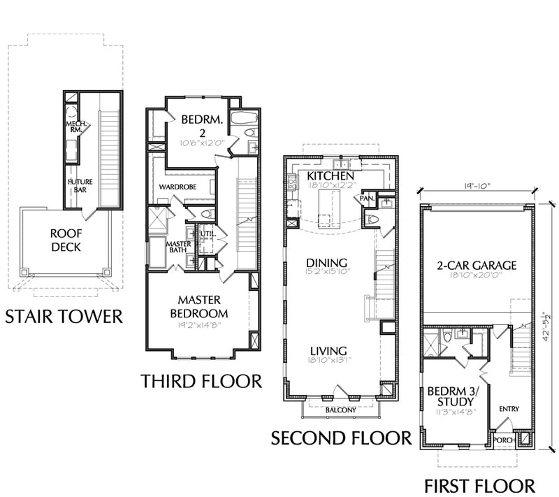 3 1/2 Story Townhouse Plan E2258 A1.2