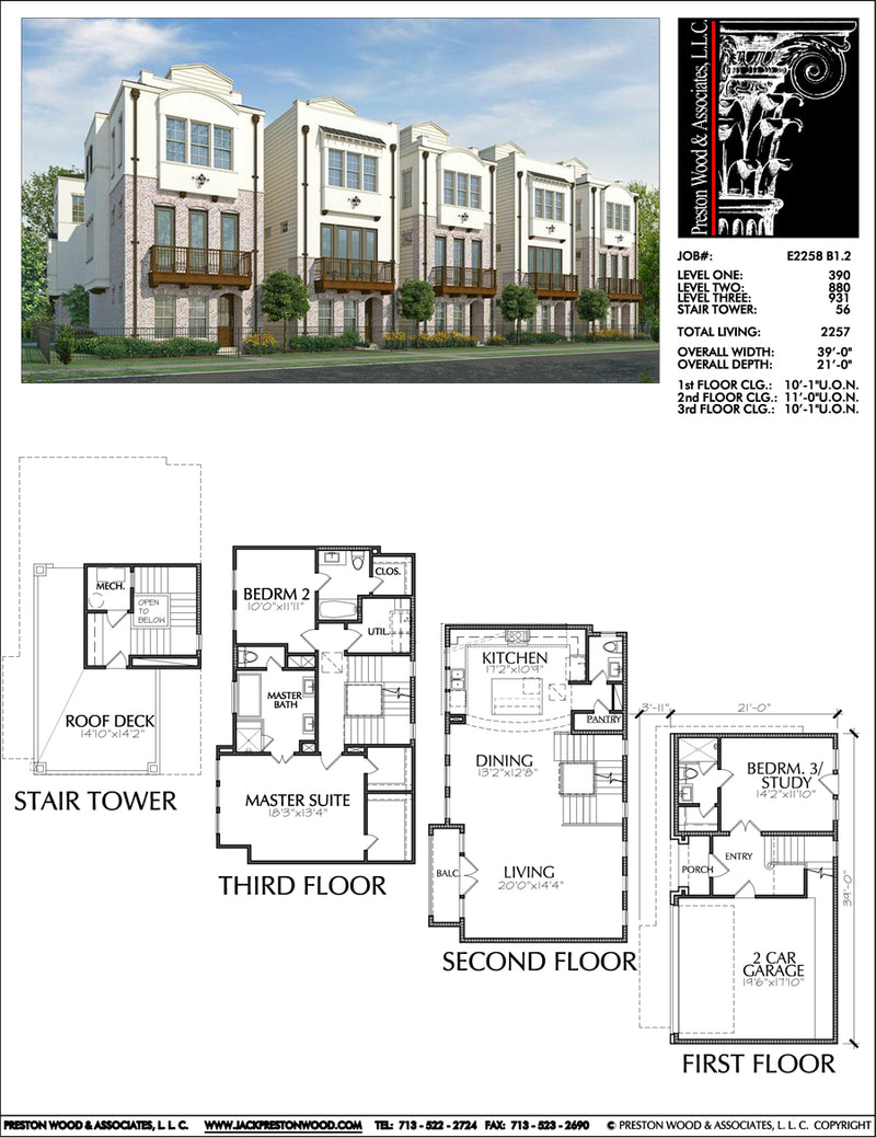 3 1/2 Story Townhouse Plan E2258 B1.2