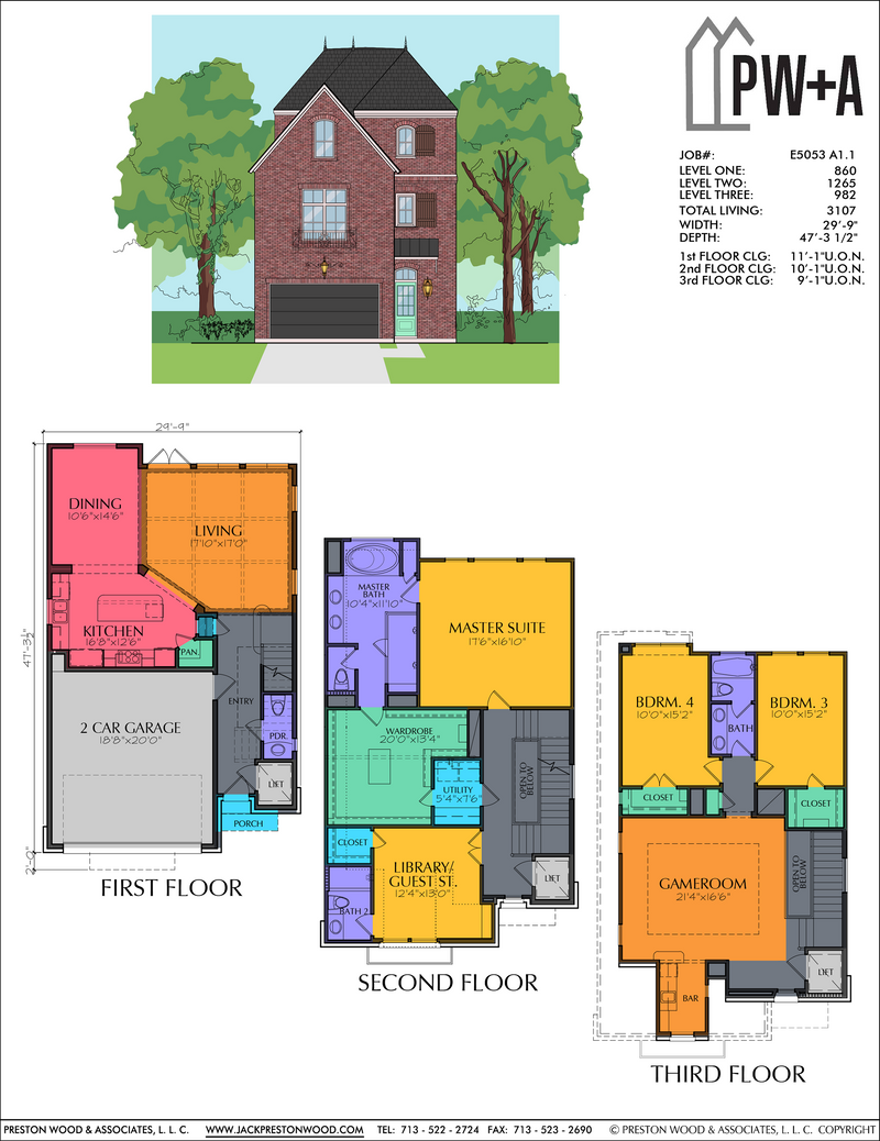 Three Story Home Plan E5053