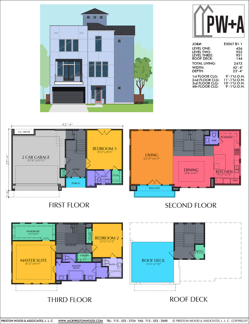 Four Story Home Plan E5067 B1.1