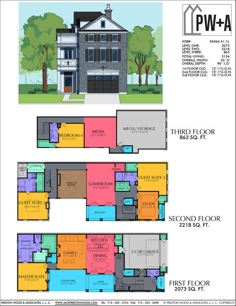 Three Story Home Plan E6066 A1.1