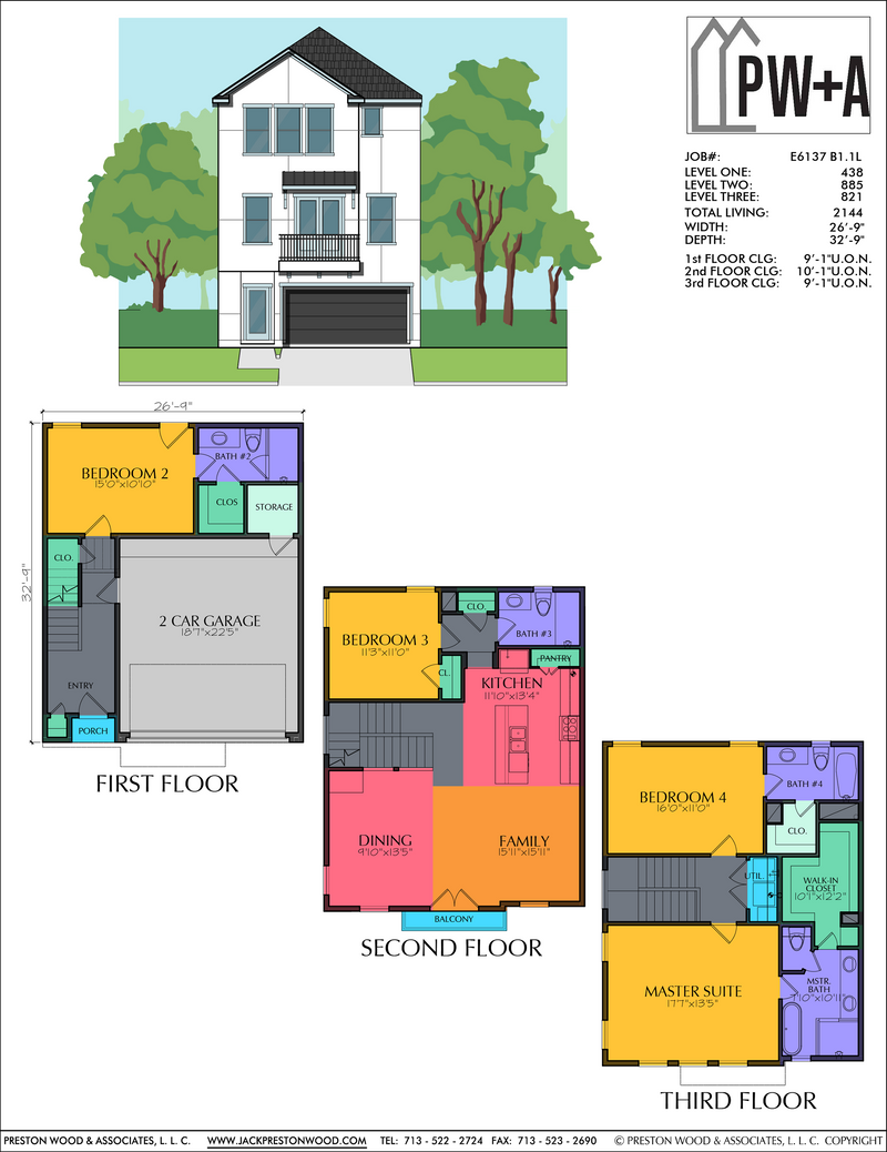 Three Story Home Plan E6137 B1.1