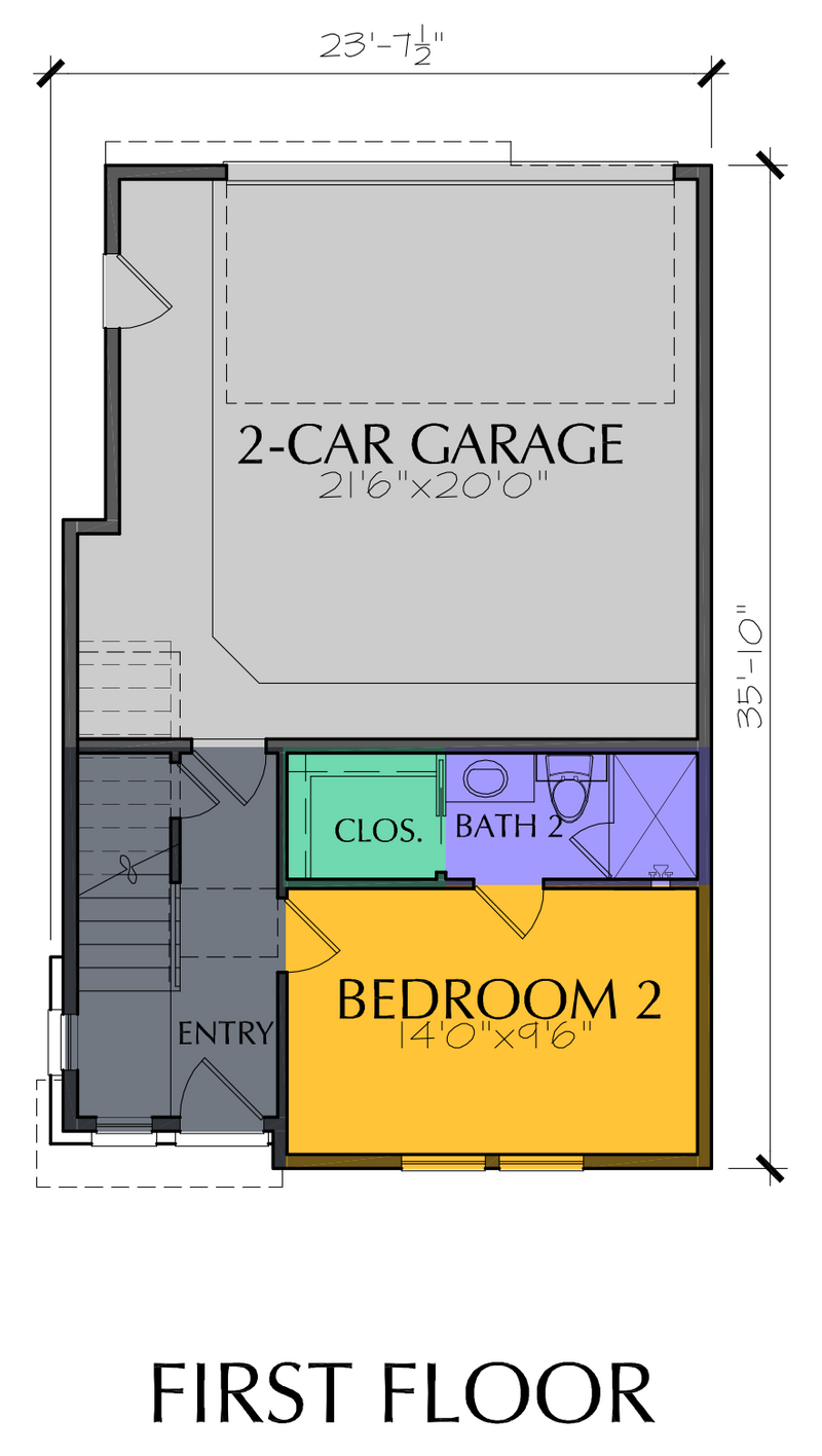 Three Story Townhouse Plan E7078 A1.1