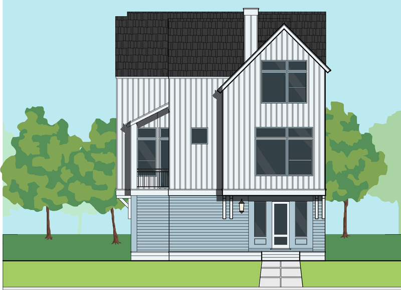 Three Story Townhome Plan E7080 A1.1