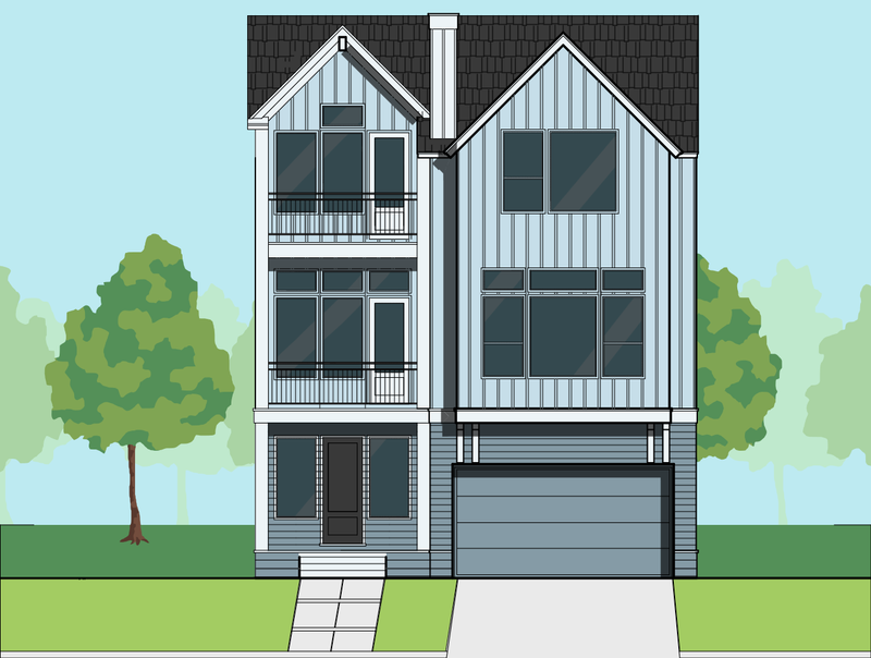 Three Story Townhome Plan E7080 B1.1