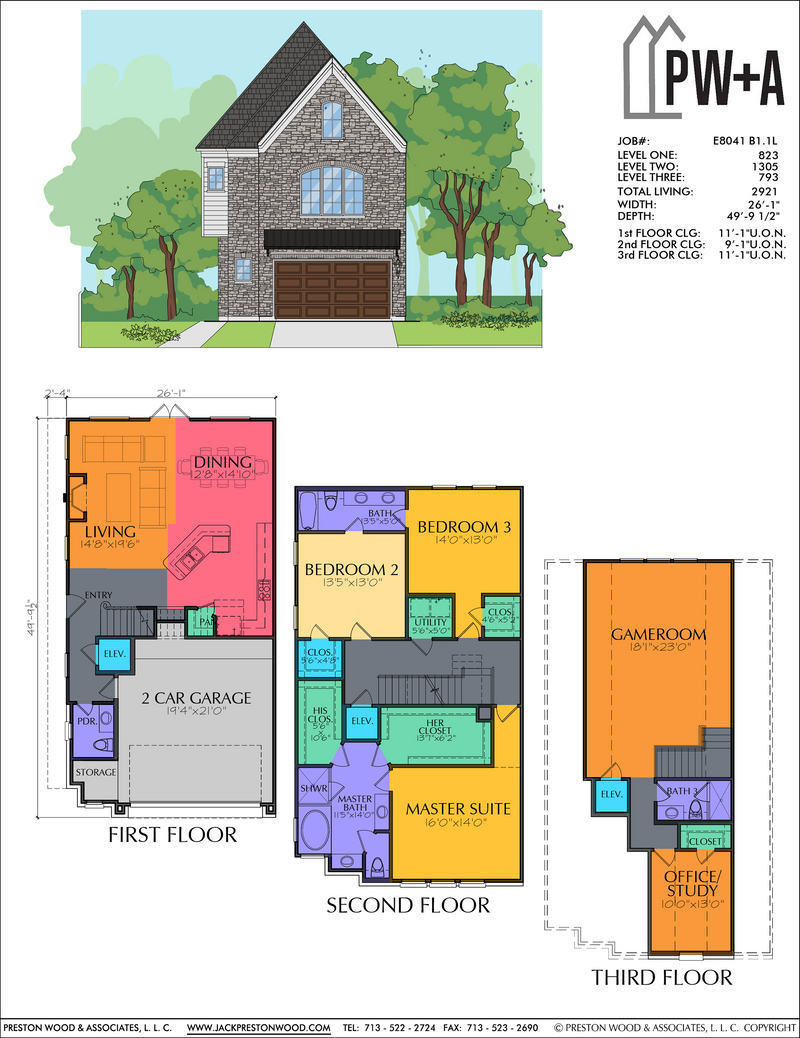 Three Story Home Plan E8041 B1.1