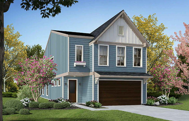 Guest Suite Option b colored rendering of exterior of house. First floor has wooden door and wooden garage door and the siding is painted a dusty blue. A band of beige separates floor 1 from floor 2. The second floor has four windows. Three windows above the garage and one above the entry door. There is a shallow awning over the garage