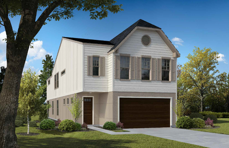 Guest Suite Option C colored rendering of exterior of house. First floor has wooden door and wooden garage door and the siding is painted beige. The second floor siding is a cream color with four windows. Three windows above the garage and one above the entry door.