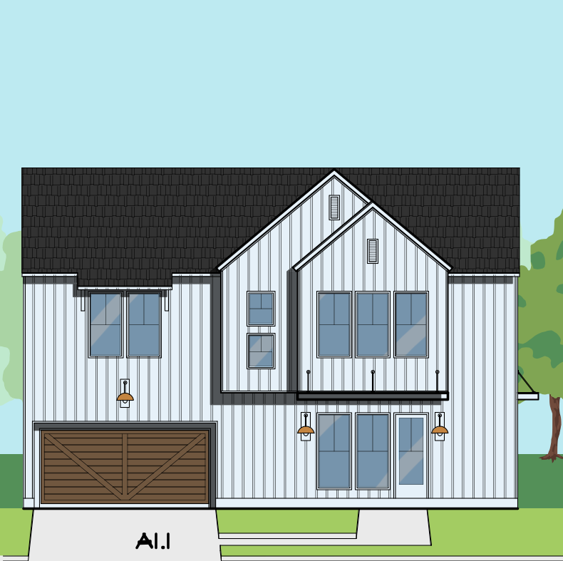 Two Story Home Plan E8218 A1.1 & A1.2
