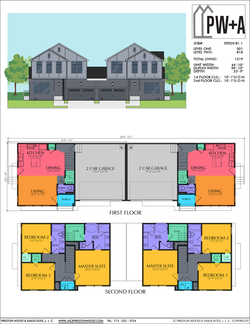 Two Story Duplex Home Plan E9020 B1.1