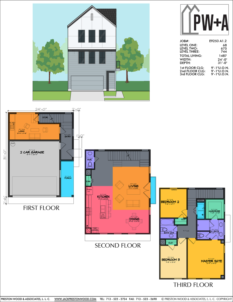 Three Story Townhome Plan E9253 A1.1 & A1.2