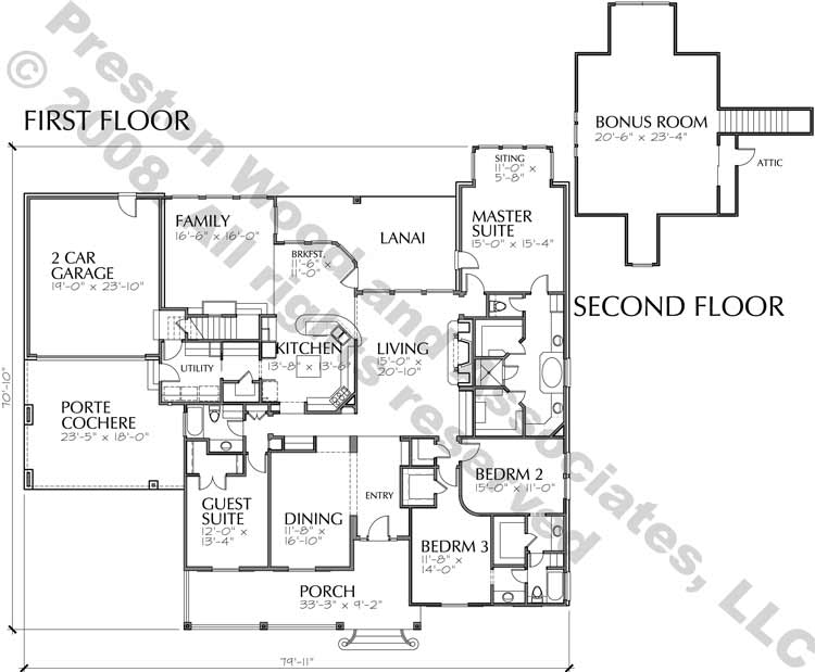 One Story House Plan C6061