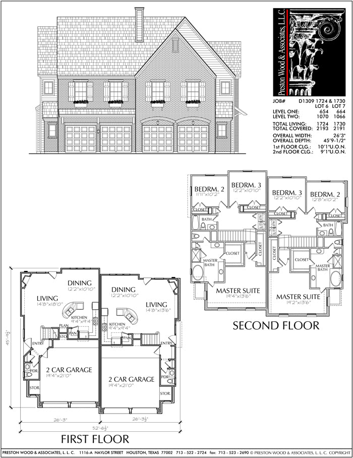 Duplex Townhouse Plan D1309-1724-1730