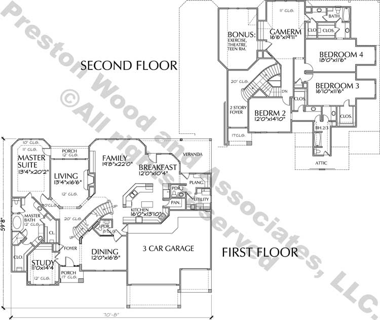 Two Story House Plan C7023