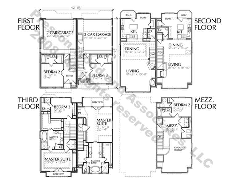 Duplex Townhouse Plan D3094 L8 & L9