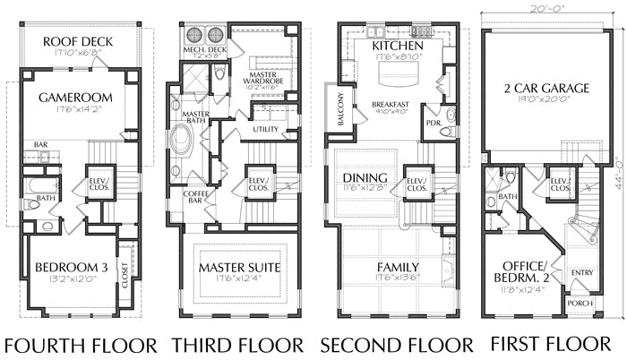 Townhouse Plan D9132 LOTS 1 & 4