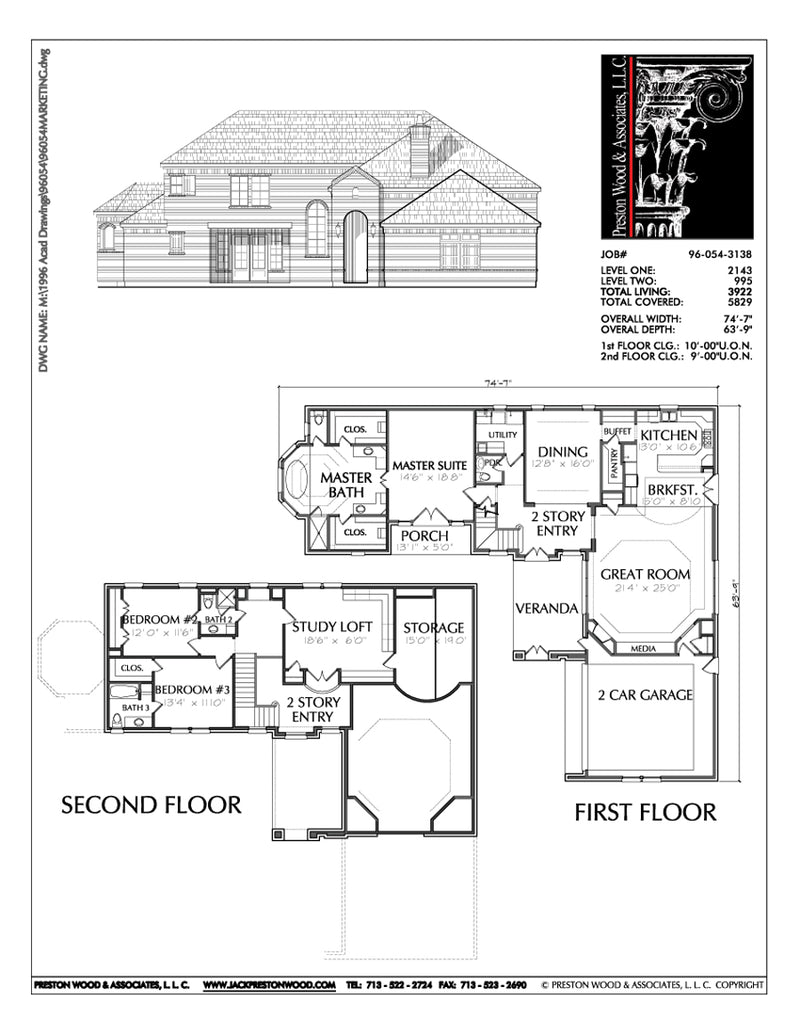 Two Story House Plan C6054