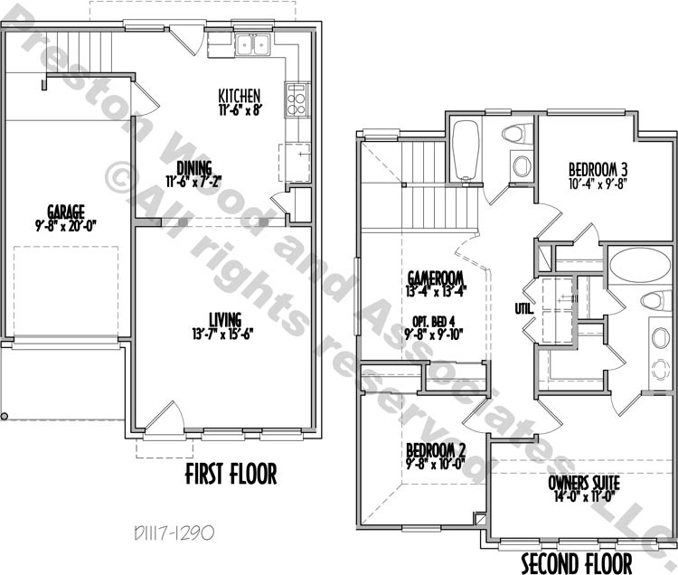 Two Story Garden Home Plan D1117 C on spa house plans, three story design, traditional house plans, ranch house plans, three story garages, three story modular homes, craftsman house plans, small 3-story house plans, three story construction, 3-story tower house plans, three story commercial, beach house plans, attached house plans, luxury 3-story house plans, three story blueprints, 3 bedroom house plans, three story log homes, multi-story house plans, colonial house plans, victorian house plans,