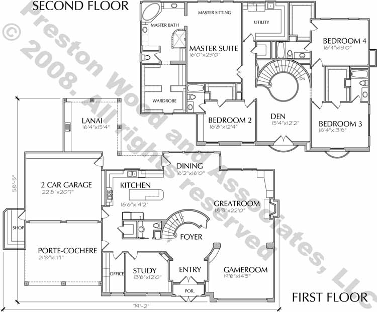 Two Story House Plan D2180