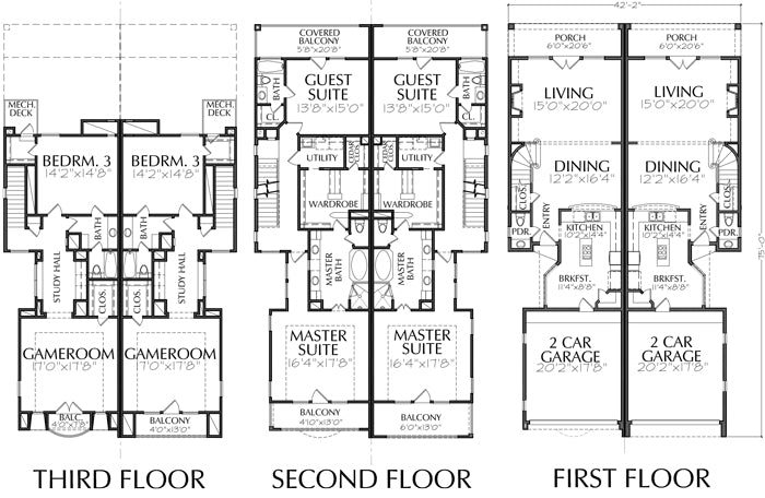 Duplex Townhouse Plan E0090