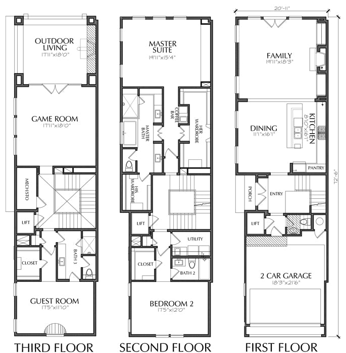 Townhomes, Townhouse Floor Plans, Urban Row House Plan ...
