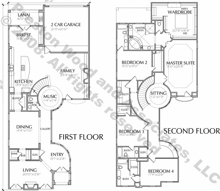 Two Story House Plan D5195