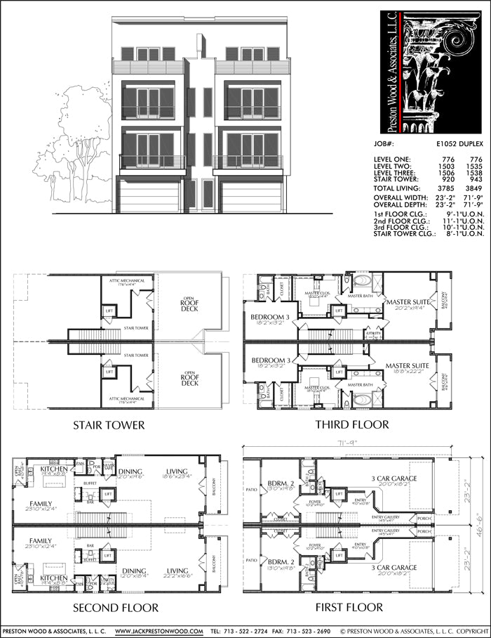 Duplex Townhouse Plan E1052