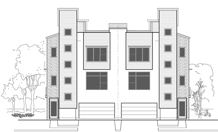 Duplex Townhouse Plan E1102 E1.1