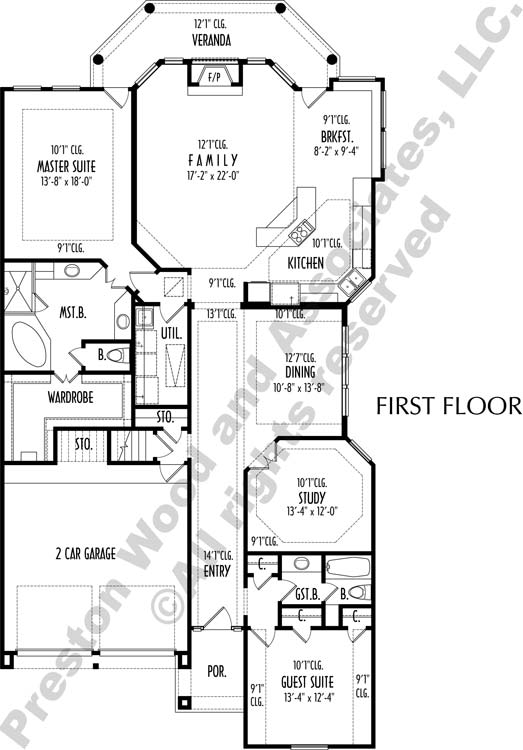 One Story House Plan C8313