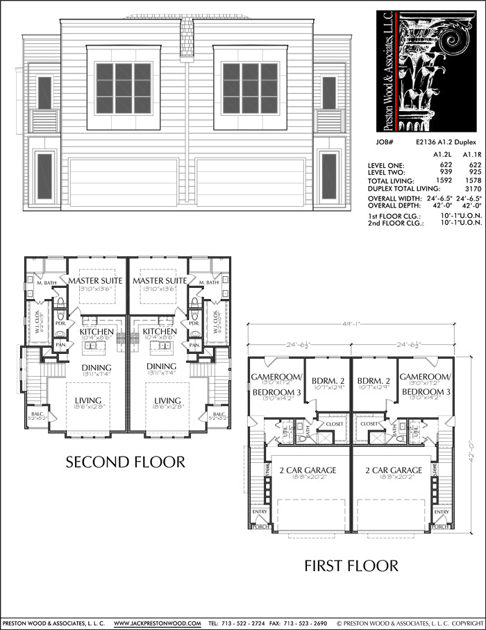 Duplex Townhouse Plan E2136 A1.2