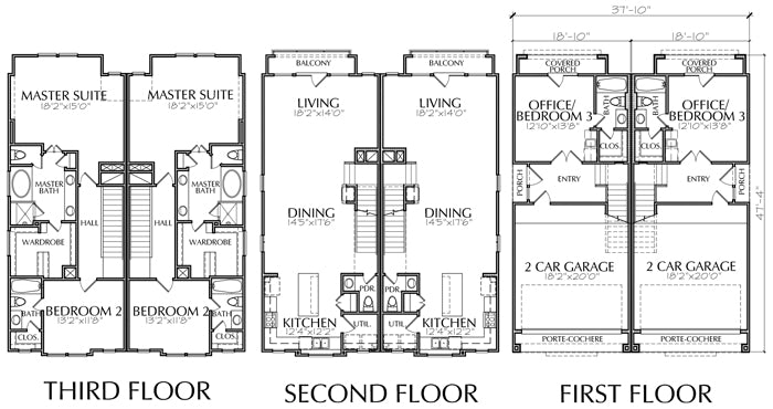 Duplex Townhouse Plan E0169 AA