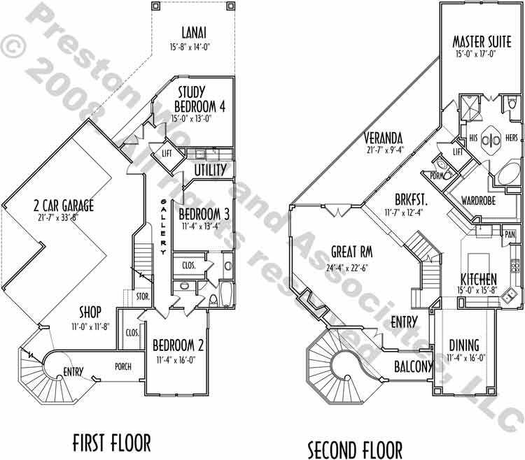 Two Story House Plan C9157