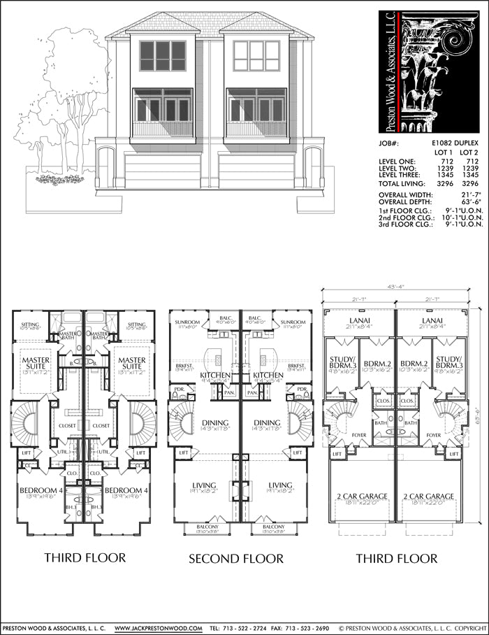 Duplex Townhouse Plan E1082