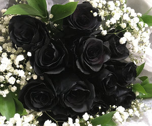 Black Roses Bouquet with Baby Breaths