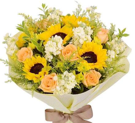 Cheerful Sunflowers & Roses Bouquet-Same Day Flower Delivery Melbourne