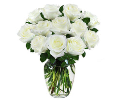 Pure White Sympathy Roses in Vase-Laura Florist and Gifts-Melbourne Flower Delivery