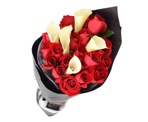 Melbourne Flower Delivery - Sentiment Red Roses & White Calla Lily Bouquet - Melbourne Florist