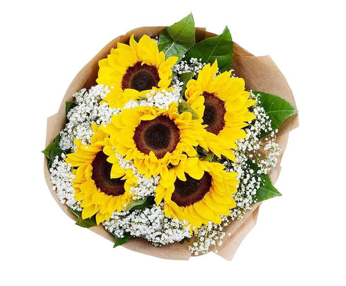 Melbourne Flower Delivery - Sunflowers with Baby Breath Bouquet - Melbourne Florist