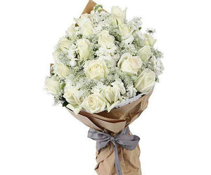 Melbourne Flower Delivery - White Roses Purity Bouquet - Melbourne Florist