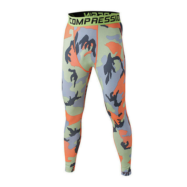 FLYFIRE Orange Camo Compression Pants
