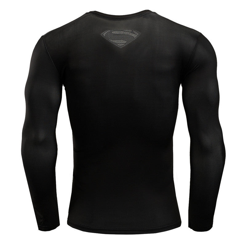 Grey Superman Long sleeve Compression Shirt