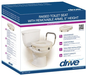"2 IN 1 LOCKING 5"" RASIED TOILET SEAT WITH REMOVEABLE ARMS"