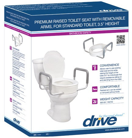 "3.5"" RAISED TOILET SEAT WITH ARMS STANDARD/ELONGATED"