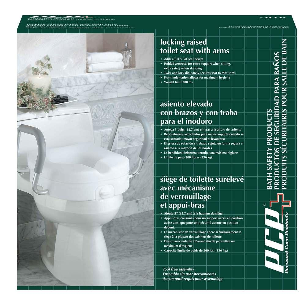 "MOLDED 5"" RASIED TOILET SEAT WITH ARMS"