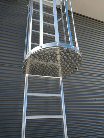 Aluminium caged ladder height safety