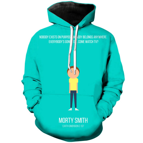 Simplistic Morty | Rick and Morty 3D Printed Unisex Hoodies - RespawnWear